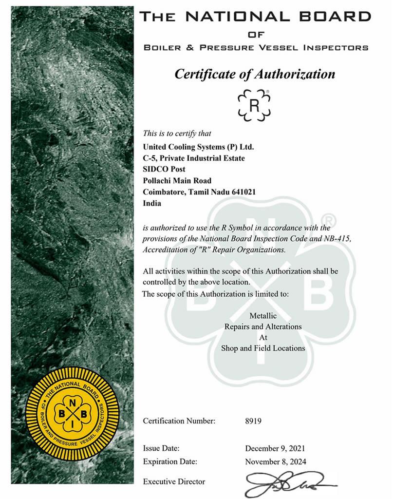 ASME R STAMP AND NB REGISTRATION